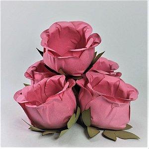 Forminha Botão de Rosa 2 Camadas Rosa 20 Unidades