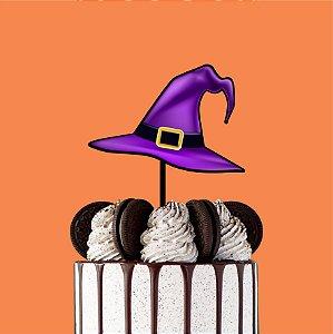 Topo de Bolo Chapéu Bruxa Color Glitter Halloween