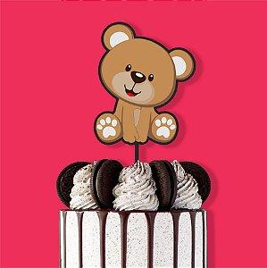 Topo de Bolo Ursinho Color Glitter Aniversário