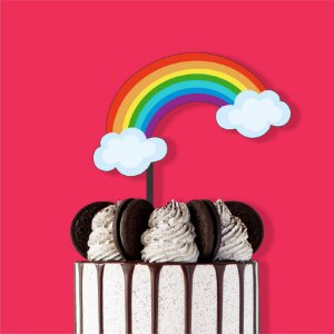 Topo de Bolo Arco Íris Color Glitter Aniversário