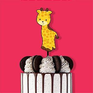 Topo de Bolo Girafa Color Glitter Aniversário