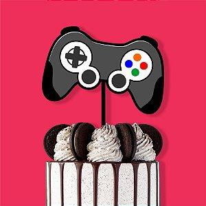 Topo de Bolo Controle Game Color Glitter Aniversário