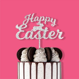 Topo de Bolo Happy Easter Coelho