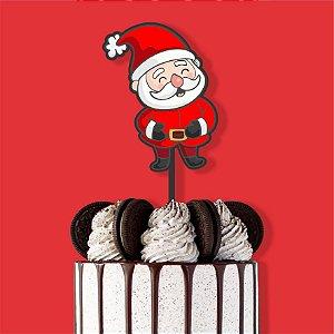Topo Bolo Color Glitter Papai Noel Feliz