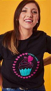 Camiseta Feminina Cupcake Preta