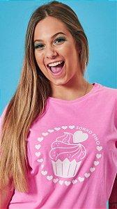 Camiseta Feminina Cupcake Rosa