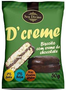 D'CREME SEU DIVINO - BISC. RECHEADO C/ CHOCOLATE - ZERO GLÚTEN, LEITE E SOJA 50G
