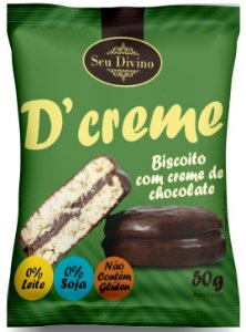 D'CREME SEU DIVINO - BISCOITO RECHEADO COM CHOCOLATE - ZERO GLÚTEN, LEITE E SOJA 50G
