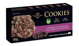 Cookies de Chocolate com Gotas de Chocolate - Vegano - Sem Glúten e Sem Leite - 90g