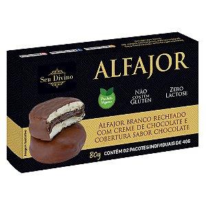 Alfajor Branco Vegano - Recheado com Creme de Chocolate e Cobertura sabor Chocolate - 80g