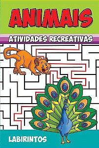 Animais - Atividades Recreativas - LABIRINTOS - PCT C/ 10 LIVROS