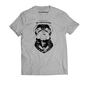 Camiseta Masculina - Pug Cinza