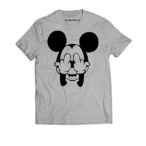 Camiseta Masculina - Mickey Fuck Cinza
