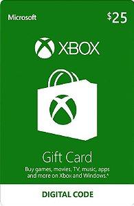 Cartão Presente Microsoft $25 Dólares - USA