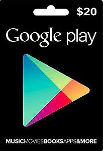 Google Play - Cartão $20 Dólares - USA