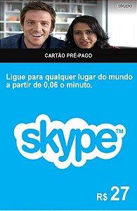 Skype - Cartão Pré-Pago R$ 27 Reais