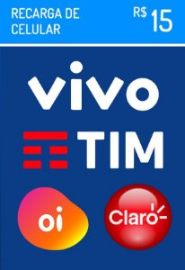 Recarga Celular - Claro Vivo Oi Tim R$ 15,00