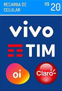 Recarga Celular - Claro Vivo Oi Tim R$ 20,00