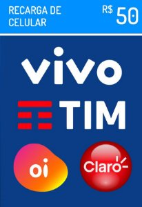 Recarga Celular - Claro Vivo Oi Tim R$ 50,00