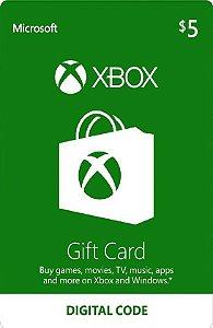 Cartão Presente Microsoft $5 Dólares - USA