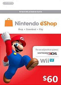 Nintendo eShop Switch / 3DS / WII U - Cartão $60 Dólares - USA