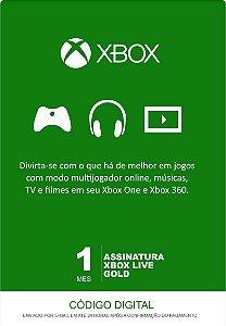 Xbox Live Gold - Cartão Assinatura 1 Mês