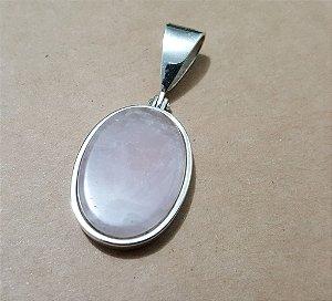 Pingente Exclusivo com Quartzo Rosa em Prata 950