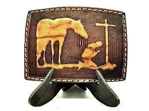 fivela de couro cavalo e cowboy na cruz pyramid 3678