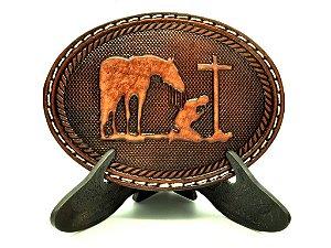Fivela de Couro Cavalo e Cowboy na Cruz Pyramid 3679