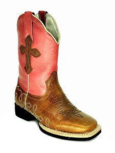 bota feminina bico quadrado cano médio com cruz vimar west country