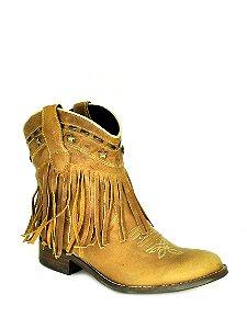 bota feminina bico redondo cano médio com franjas caramelo vimar west country