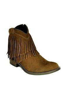 bota feminina bico redondo cano curto com franjas café vimar west country