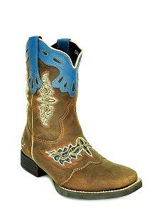 bota feminina bico quadrado cano médio anil vimar west country