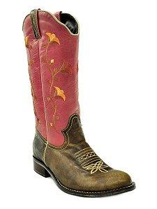 bota feminina bico redondo cano rosa vimar west country