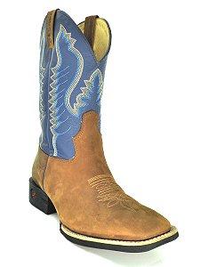 bota masculina bico quadrado crazy amêndoa napa azul jácomo