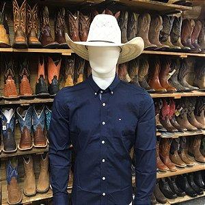 camisa manga longa custom fit azul rendler