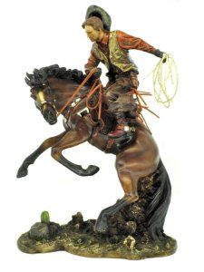 Estatueta Cowboy Domando Cavalo Oldway