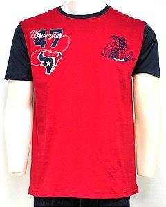 camiseta masculina patch west vermelho wrangler g25.83.r5.40