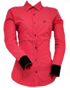 camisete austin western - vermelha com bolinha branca