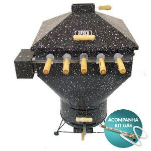 churrasqueira apolo plus mini 5 espetos rotativos esmaltada 220v - weber