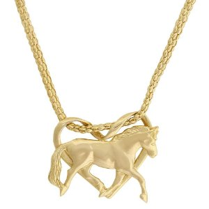 colar coração de cavalo inteiro banho 10 milésimos de ouro 18k