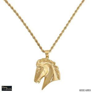colar cabeça de cavalo banho 10 milésimos de ouro 18k