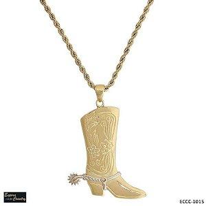 colar bota com espora giratoria banho 10 milésimos de ouro 18k