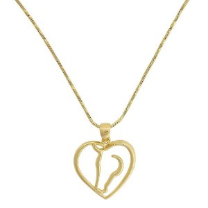 colar coração de cavalo vazado banho 10 milésimos de ouro 18k