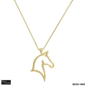colar cabeça de cavalo vazado banho 10 milésimos de ouro 18k