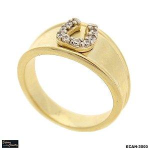 anel ferradura banho 10 milésimos de ouro 18k