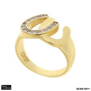 anel ferradura dupla banho 10 milésimos de ouro 18k com pedras zircônia