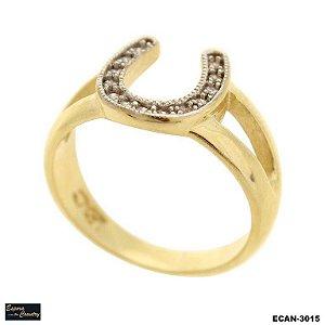 anel ferradura pedras vazado banho 10 milésimos de ouro 18k