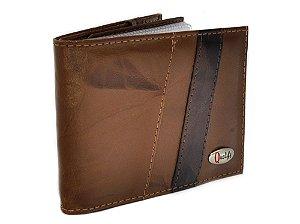 carteira couro com porta cheques - qualify