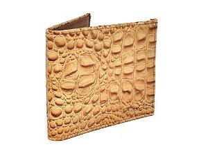 carteira couro bovino, replica de crocodilo - cincow